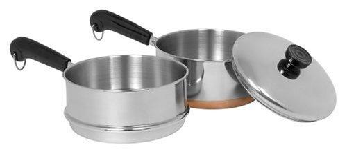 Revere 2-Quart Covered Saucepan with Double Boiler Insert