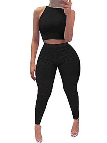 (GOBLES Women's Summer Bodycon 2 Piece Outfits Halter Top High Waisted Pants)