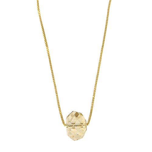 14k Yellow Gold Box Chain Champagne Crystal Pendant Necklace, - Crystal 14k Gold Champagne