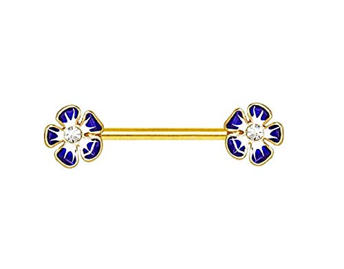 Freedom Fashion Gold Plated Jeweled Hibiscus Flower Nipple Bar (Sold by Piece)