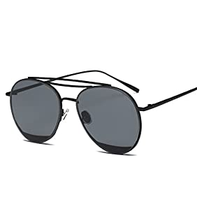 SojoS Fashion Double Metal Crossbar Round Mens Womens Sunglasses SJ1059