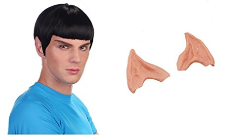 Indisguise Men's Star Trek Spock Vulcan Space Man Fancy Costume Wig + Latex Ears One Size Wig - One Size Ears Black Wig, Flesh (Spok Ears)