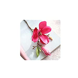 Plastic+Cloth Artificial Magnolia Flower Branch with Green Leaf Color Home Table Decoration Fake False Floral Hand Made Flowers,C 46