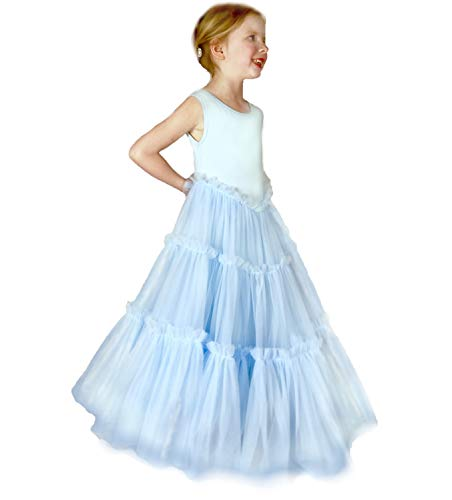 Jennifer and June Girl's Tiered Tulle Twirling Princess Gown. Sizes 2T, 3T, 4T, 5T and 6T. Light Blue (Light Blue, 3T/4T) from Jennifer + June