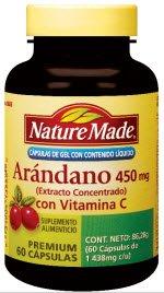 Nature Made Cranberry + Vitamin C 450mg, 60 Capsules -Arándano con Vitamina C- (Spanish Version)