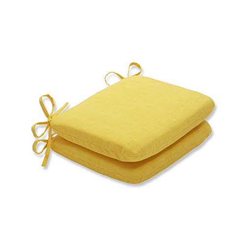 Pillow Perfect Outdoor Fresco Yellow Rounded Corners Seat Cushion, Set of 2