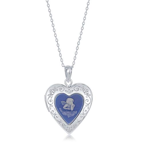 Sterling Silver Angel Blue Cameo Designed Heart Locket Necklace