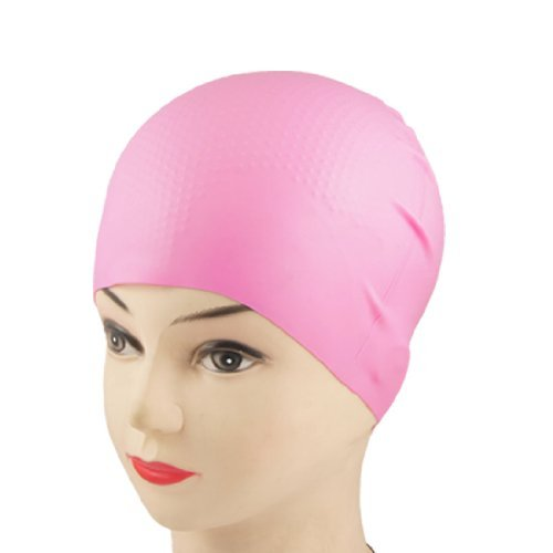 Dimart Adult Swimming Sports Inside Grains Soft Silicone Swim Cap Hat Pink