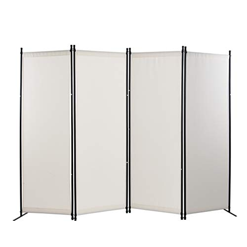 4 Panel Room Divider Privacy Screens Home Office Accents Folding Steel Frame White (White)