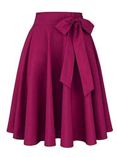 Women's Vintage Bow-Knot Skater Midi Skirt Casual High Waist Tie Wasit Pleated Skirt S
