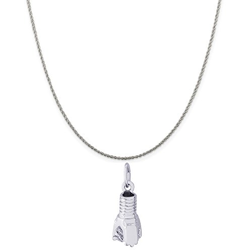 Rembrandt Charms Sterling Silver Oil Drill Bit Charm on a Sterling Silver Rope Chain Necklace, 20