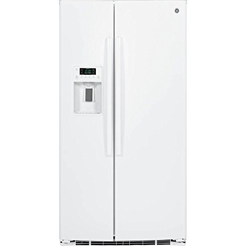 Ge - 25.4 Cu. Ft. Side-by-side Refrigerator With Thru-the-door Ice And Water - White