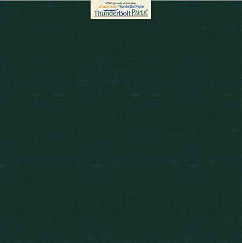 25 Dark Green Linen 80# Cover Paper Sheets - 12