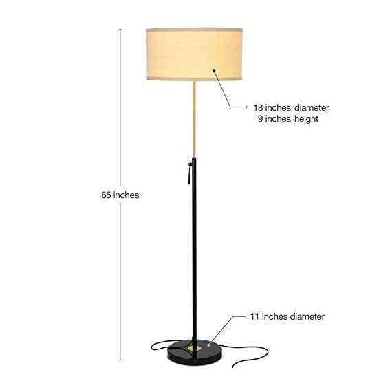 "Brightech Telescope - Black & Gold Modern Floor Lamp for Bedroom - Tall, Height Adjustable Pole Light for Living Room & Office Lighting - Standing Lamp, Antique Brass - With LED Bulb - UNIQUE MODERN DESIGN THAT LOOKS GREAT WITH ANY DECOR: The Brightech Telescope LED Floor Lamp is stylish, unique, and convenient too, and will get your guests talking about all its amazing features. The gold accents on the pole, base, and socket stand out in either color and create a touch of elegance in any space. The height adjustable pole means that you can set the scene exactly how you want it. It's pairs well with modern, minimalist, contemporary, and rustic decor schemes. BEAUTIFUL WARM LIGHT FOR HOME & OFFICE; FITS IN NARROW SPACES An alternative to unpleasant overhead lights, the Telescope LED lamp provides soft yet plentiful room lighting to enlighten your indoor space. It's perfect for bedrooms or living rooms, and the slim design allows for easy placement. It fits perfectly behind sofas or next to end tables, to shine overhead with a warm, inviting glow that isn't harsh or glaring. SPECS: ALEXA & GOOGLE COMPATIBLE, HEAVY BASE, 65"" TALL: Works with smart outlets that are Alexa, Google Home Assistant, or Apple HomeKit enabled, to turn on/off. (Requires smart outlet sold separately.) Brightech designed this lamp with safety in mind. Its weighted base keeps it from tipping easily. Shade 9"" tall by 18"" diameter. - living-room-decor, living-room, floor-lamps - 31SZHwcwANL. SS570  -"