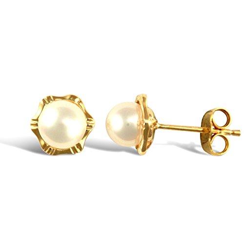 Boucles d'oreilles clous or jaune 9carats Perle de culture Fleur