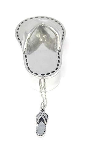 Basic Spirit Pewter Flip Flop Wish Box with Sandal Charm Necklace 2 1/2