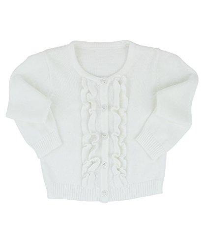 RuffleButts Baby/Toddler Girls White Ruffled Cardigan - 6-12m (White Cardigan Baby Girl)