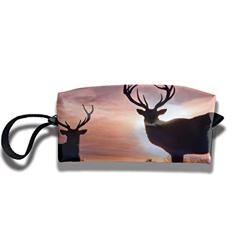 Travel Toiletry Pouch Deer Shaving Kit Make-up Bag with Handle,Portable Organizer Receive Cosmetic Storage Case for Women and Men ()