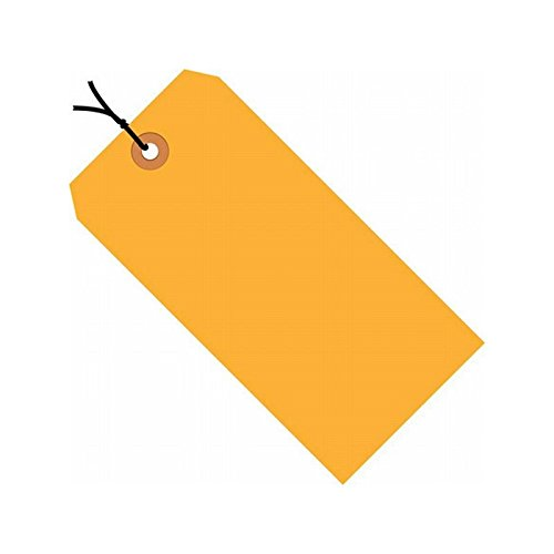 Orange Fluorescent Strung Tag (Box Packaging Pre-Strung Fluorescent Colored Shipping Tag #6, 13 Point, Pre-Strung, Fluorescent Orange, 5.25