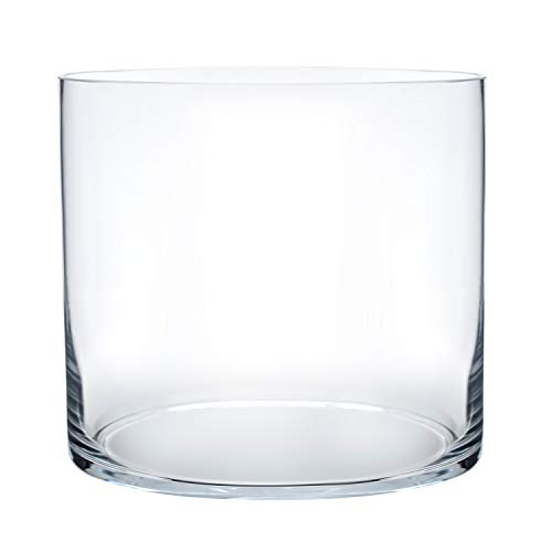 Royal Imports Flower Glass Vase Decorative Centerpiece for Home or Wedding Cylinder Shape, 4 Tall, 4 Opening, Clear