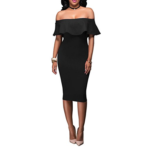 (Women's Off Shoulder Ruffles Back Split Slim Stretch Cocktail Party Bodycon Midi Dress S Black)