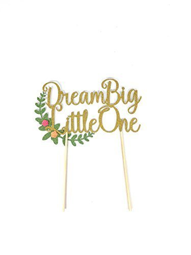 1-pc-Dream-Big-Little-One-Floral-Flower-Wreath-bohemian-tribal-nativeTheme-Gold-Glitter-Cake-Topper-for-Birthday-Baby-Shower