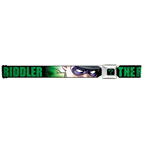 DC Comics Batman Seatbelt Belt - THE RIDDLER Closeup Mask Pose on (Two Face Batman Mask)