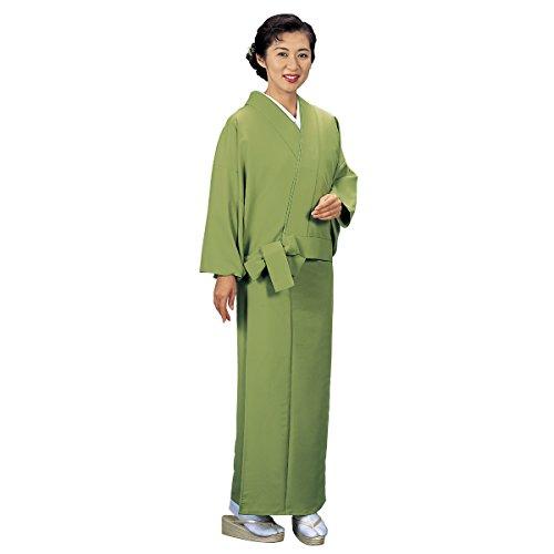 の北へ引き受ける二部式着物 無地 単衣 洗える 仕立て上り 緑 5703