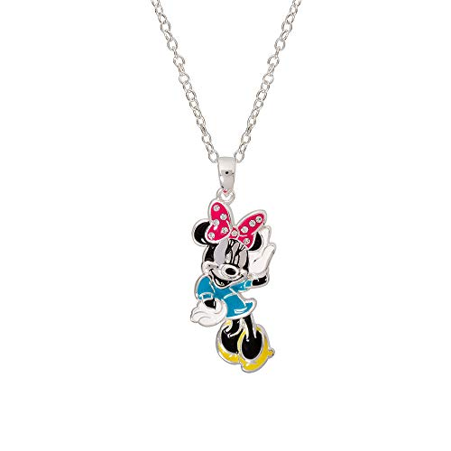 Disney Minnie Mouse Jewelry for Women and Girls, Silver Plated Enamel Pendant Necklace Mickey's 90th Birthday Anniversary -