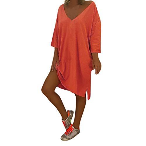 (COPPEN Women Dresses V Neck Feminino Vesti Caftan Boho Beach Cover Plus Size Baggy Dress Orange)