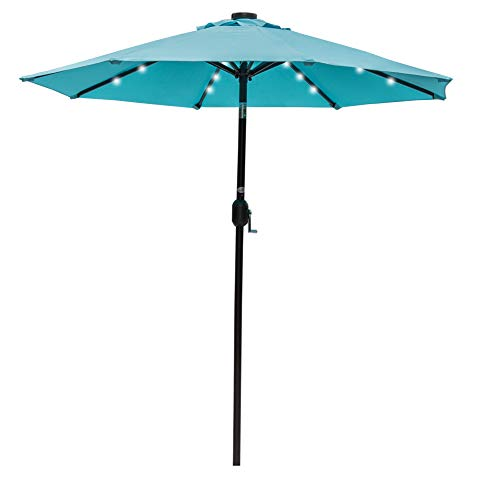 Sundale Outdoor 7 ft Solar Powered 24 LED Lighted Patio Umbrella Table Market Umbrella with Crank and Push Button Tilt for Garden, Deck, Backyard, Pool, 8 Steel Ribs, Polyester Canopy (Blue)