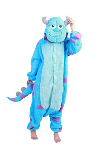 BELIFECOS Unisex Adult Pajamas Plush One Piece Adult Anime Cosplay Costume Sully(Flannel) L