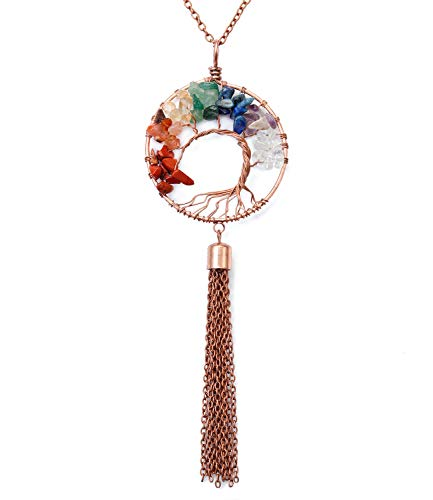 Reoxvo Long Tassel Necklace for Women Bohemian Statement Chakra Gemstone Tree of Life Pendant Tassel Necklace
