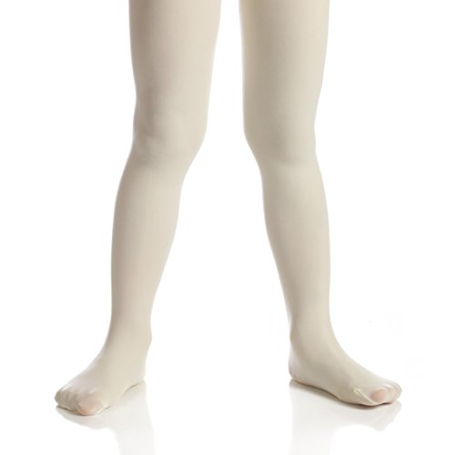 Ivory Tights (Top Fit Socks Girls' Microfiber Tights: Opaque Solid Seemless Footed Leggings-Ivory, Size 2-4, 1 Pack)