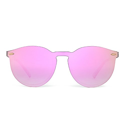 Mirrored Rimless Sunglasses Reflective One Piece Round Eyeglasses for Women Men (Matte Transparent / Mirror - Mirrored Pink Sunglasses Hot