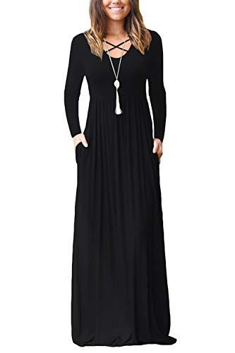 Dressmine Robes Longues Femmes Été Manches Longue et sans Manches Grande Taille Maxi Robe Casual Bretelles Robe de Plage avec Poches