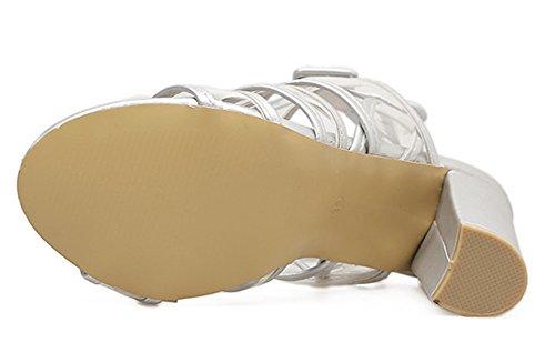 Römersandale Schnalle Zehen Blockabsatz Knöchelriemchen Aisun Damen mit Transparent Offene Silber WqaZxHw8Y