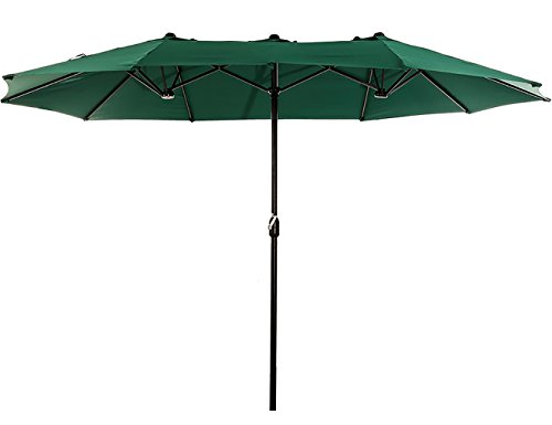 Superjare Outdoor Patio Umbrella with Crank System, Extra-large Double-sided Design, 100% Polyester Fabric - Green (Patio Shade Simply Umbrella Offset)