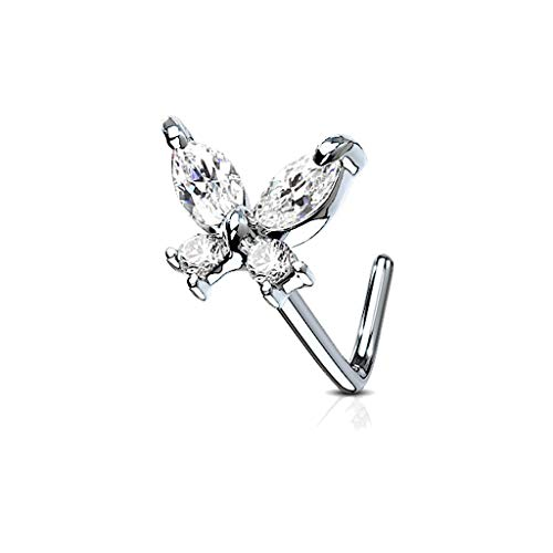 MoBody 20G Nose Ring Stud L-Shaped Cubic Zirconia Butterfly Surgical Steel Body Piercing Jewelry (Clear)