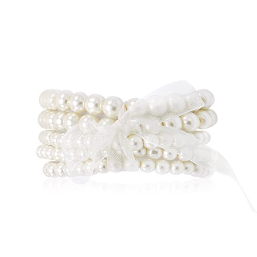 - T-Doreen 5 Pcs White Faux Pearl Bracelets Bridesmaid,Bridal,Party Jewelry (6mm,8mm)