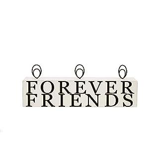 Malden International Designs Tabletop Photo Clips Wood Block Forever Friends Picture Holder, 3 Option, White