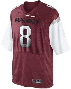 Arkansas Razorbacks Youth 8 Replica Football Jersey by Nike (L=16-18) (8 Replica Jersey Football)