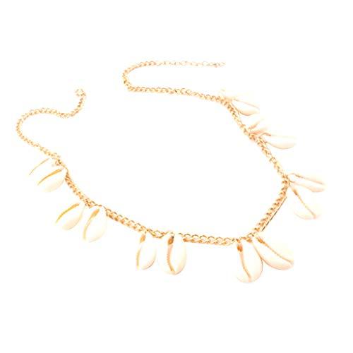 (DDLmax Shell Choker Necklace for Women Seashell Necklace Statement Adjustable Gold Sea Shell Pendant Cord Bib Collar Necklace Hawaiian Jewelry)
