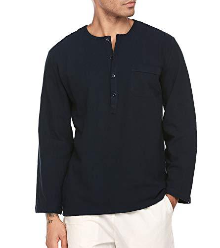 JINIDU Men's Fashion T Shirt Cotton Tee Hippie Shirts Long Sleeve Beach Top Navy ()
