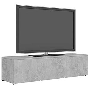 Festnight Meuble TV Banc TV avec 3 Tiroirs Aggloméré Gris béton 120x34x30 cm