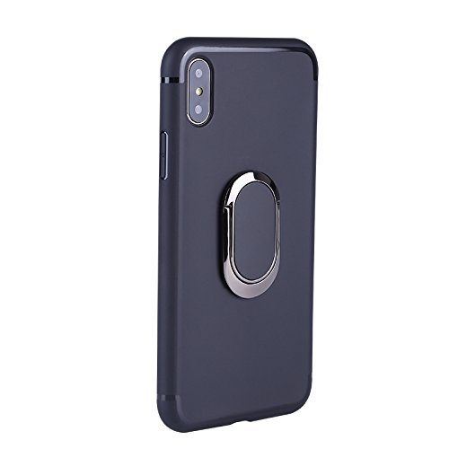 iPhone X Case 360 Rotating Ring Grip Holder Kickstand Function Magnetic Base, Ultra Slim Thin Hard Scrub Cover Shockproof Protective Soft TPU iPhone X(Black)