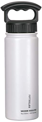 FIFTY/FIFTY Vacuum-Insulated Stainless Steel Bottle with Wide Mouth - 34 oz. Capacity - Winter White