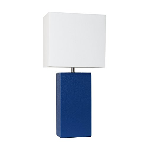 Elegant Designs LT1025-BLU Modern Leather Table Lamp with with White Fabric Shade, -
