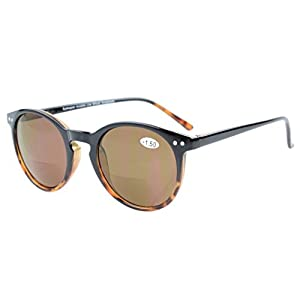 Eyekepper Key Hole Style Spring-Hinged Round Bifocal Sunglasses Sun Readers Black-Tortoise +1.5