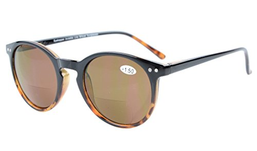 Eyekepper Key Hole Style Spring-Hinged Round Bifocal Sunglasses Sun Readers Black-Tortoise +2.5